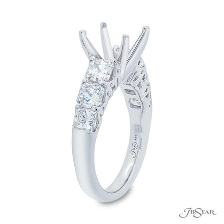 2612-003 - Radiant-cut Diamond Semi-Mount Ring Setting Side View