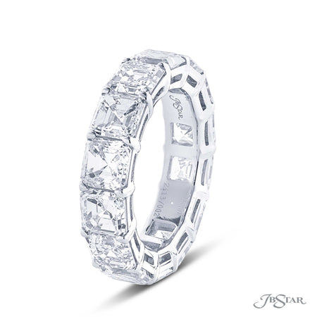 Emerald Cut Diamond Eternity Band in Prong Platinum Setting 2613-002 side view