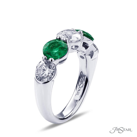 Gorgeous 5 stone emerald and diamond wedding band featuring 3 round diamonds and 2 round emeralds in a shared prong setting. Handcrafted in pure platinum. [details] Stone Information SHAPE TYPE WEIGHT Round Round Diamond Emerald 1.90 ctw. 1.50 ctw. [enddetails] | JB Star 2618-005 Anniversary & Wedding