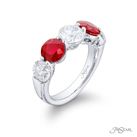 2618-006 | Ruby & Diamond Wedding Band 2.43 ctw Round Shared Prong Side View