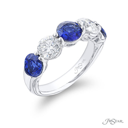 2618-010 | Sapphire & Diamond Band Round 2.46 ctw Shared Prong Setting Front View