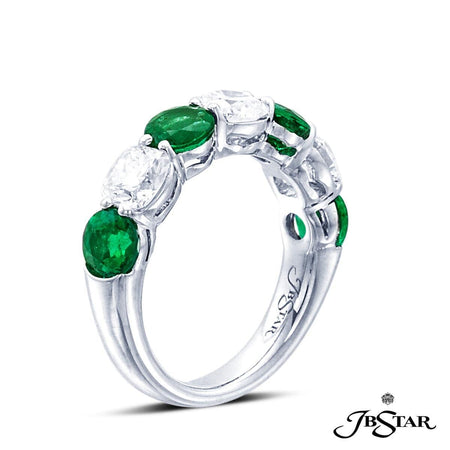 Emerald and diamond band handcrafted in a 7-stone style, with alternating round emeralds and cushion cut diamonds in a platinum shared-prong setting. [details] Center Stone(s) SHAPE TYPE WEIGHT Round Emerald 1.77 ctw. Stone Information SHAPE TYPE WEIGHT Cushion Diamond 1.51 ctw. [enddetails] | JB Star 2621-014 Anniversary & Wedding