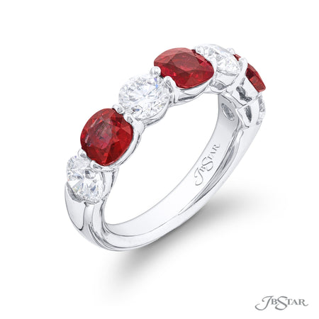 2621-020 | Ruby & Diamond Band 1.61 ctw. Cushion Cut Shared Prong Side View