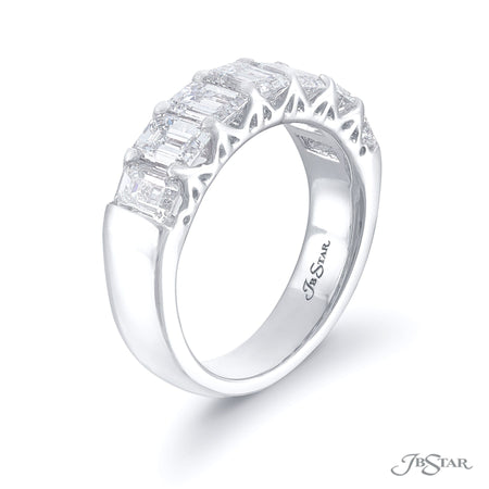 2623-001 | Diamond Wedding Band Emerald Cut 3.91 ctw. Shared Prong Side View