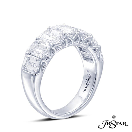 Handcrafted platinum diamond wedding band with seven perfectly matched emerald-cut diamonds in a shared-prong setting. [details] Stone Information SHAPE TYPE WEIGHT Emerald Diamond 4.25 ctw. [enddetails] | JB Star 2627-004 Anniversary & Wedding