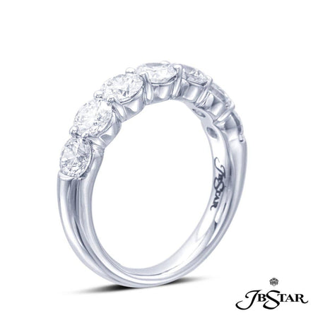 Platinum diamond wedding band handcrafted with 7 perfectly matched round diamonds in shared-prong setting. [details] Stone Information SHAPE TYPE WEIGHT Round Diamond 2.07 ctw. [enddetails] | JB Star 2632-004 Anniversary & Wedding