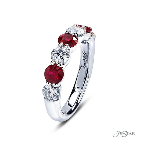 Stunning ruby and diamond band featuring 3 round rubies and 4 round diamonds in an alternating design and shared prong setting. Handcrafted in pure platinum. [details] Stone Information SHAPE TYPE WEIGHT Round Ruby 1.15 ctw. Round Diamond 1.04 ctw. [enddetails] | JB Star 2632-022 Anniversary & Wedding
