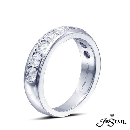 Platinum Diamond Band featuring 9 round diamonds in a channel setting. Stone Information SHAPE TYPE WEIGHT Round Diamond 1.27 ct. | JB Star 2635-001 Anniversary & Wedding