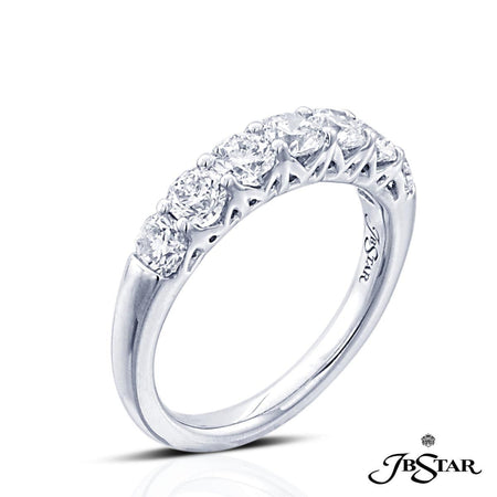 Beautiful platinum and diamond wedding band featuring 7 perfectly matched cushion-cut diamonds in a shared prong setting. [details] Stone Information SHAPE TYPE WEIGHT Round Diamond 1.64 ct. [enddetails] | JB Star 2638-002 Anniversary & Wedding