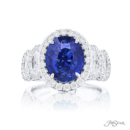2639-006 | Sapphire & Diamond Ring 5.01 ct. Oval Micro Pave Setting Front View