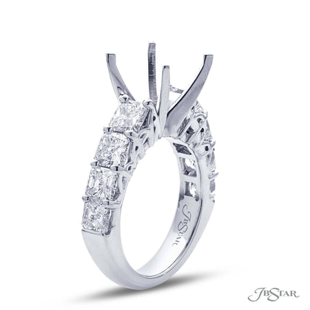 Exquisite diamond semi-mount featuring 8 perfectly matched radiant diamonds in a shared prong setting. Handcrafted in pure platinum. [details] Stone Information SHAPE TYPE WEIGHT Radiant Diamond 2.88 ctw. [enddetails] | JB Star 2700-001 Semi Mount Settings