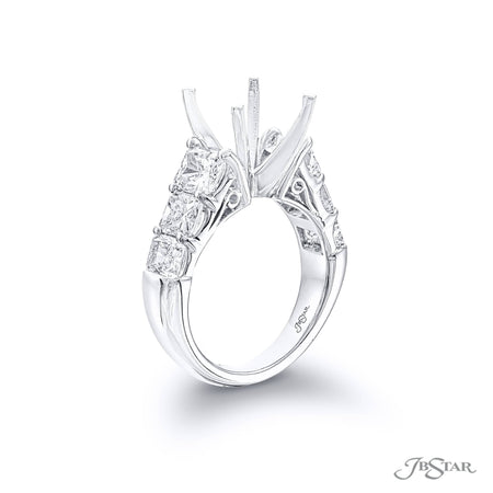 Gorgeous diamond semi-mount featuring 6 graduating radiant-cut diamonds in a shared prong setting. Handcrafted in pure platinum. [details] Stone Information SHAPE TYPE WEIGHT Radiant Diamond 3.46 ctw. [enddetails] | JB Star 2713-004 Semi Mount Settings