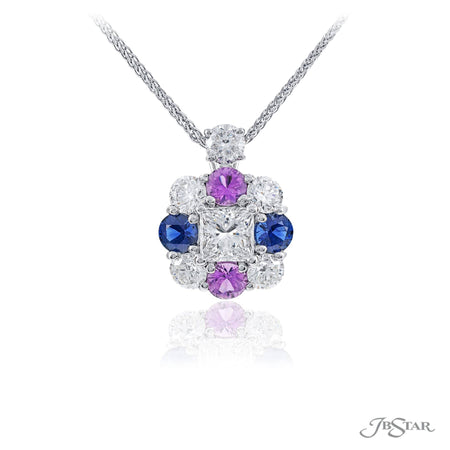 Dazzling diamond and multi-sapphire pendant featuring a 1.02 ct. GIA certified princess-cut diamond center encircled by blue and pink sapphires and round diamonds. Handcrafted in pure platinum. [details] Center Stone(s) SHAPE TYPE WEIGHT Princess Diamond 1.02 ctw. Notes: GIA Stone Information SHAPE TYPE WEIGHT Round Blue Sapphire 0.73 ctw. Round Pink Sapphire 0.70 ctw. Round Diamond 1.15 ctw. [enddetails] | JB Star 2719-012 Pendants
