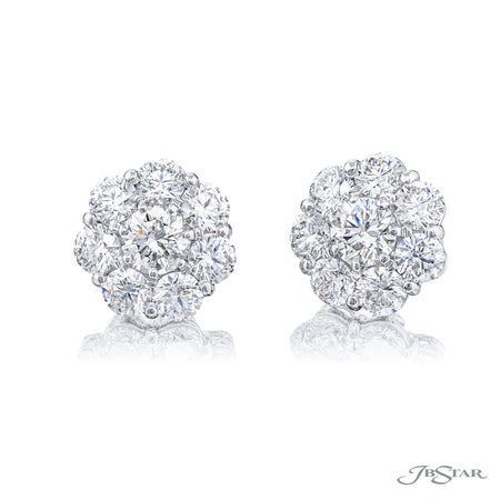 2719-021 | Floral Diamond Stud Earrings GIA Certified Round 2.06 ctw.