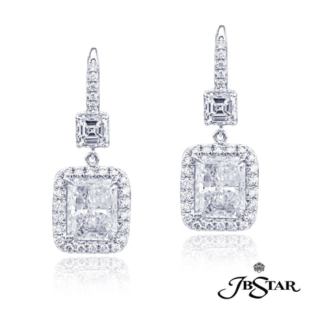 Magnificent diamond drop earrings featuring, GIA certified radiant-cut diamonds edged in micro pave and hung by square emerald-cut diamonds, handcrafted in platinum. [details] Center Stone(s) SHAPE TYPE WEIGHT COLOR CLARITY Radiant Radiant Diamond Diamond 2.71 ct. 2.71 ct. G G SI2 SI2 Notes: GIA Stone Information SHAPE TYPE WEIGHT Square Emerald Round Diamond Diamond 1.11 ctw. 0.64 ctw. [enddetails] | JB Star 2743-022 Earrings