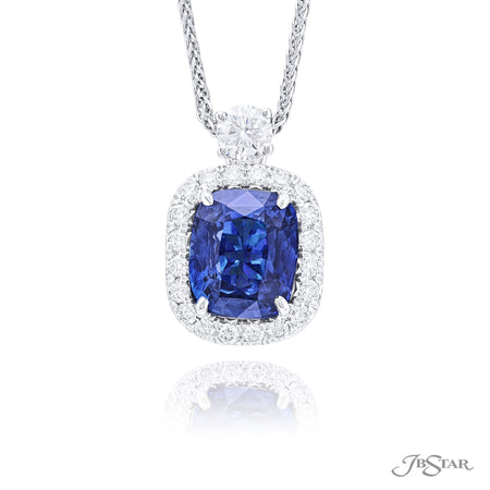 2743-026 | Sapphire & Diamond Pendant Cushion Cut GIA certified