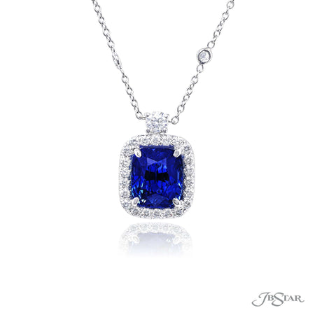 2743-026 | Sapphire & Diamond Pendant Cushion Cut 4.91 ct. Certified