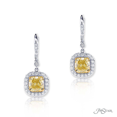 Dazzling fancy yellow diamond drop earrings featuring 2 fancy yellow GIA certified radiant-cut diamonds surrounded by micro pave. Handcrafted in pure platinum and 18KY Gold. [details] Center Stone(s) SHAPE TYPE WEIGHT COLOR CLARITY Radiant Radiant Diamond Diamond 1.73 ct. 1.76 ct. Fancy Yellow Fancy Yellow VS1 VVS2 GIA Stone Information SHAPE TYPE WEIGHT Round Diamond 0.65 ctw. [enddetails] | JB Star 2745-047 Earrings