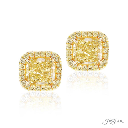 Gorgeous fancy yellow diamond studs featuring 2 GIA certified fancy yellow cushion-cut fancy yellow diamonds edged in fancy yellow round diamond pave. Handcrafted in pure platinum. [details] Center Stone(s) SHAPE TYPE WEIGHT COLOR CLARITY Cushion Cushion Diamond Diamond 3.20 ct. 3.23 ct. Fancy Yellow Fancy Yellow VVS1 VVS2 Stone Information SHAPE TYPE WEIGHT COLOR Round Diamond 0.67 ctw. Fancy Yellow [enddetails] | JB Star 2745-050 Earrings
