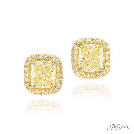 Gorgeous fancy yellow diamond studs featuring 2 GIA certified fancy yellow cushion-cut fancy yellow diamonds edged in fancy yellow round diamond pave. Handcrafted in pure platinum. [details] Center Stone(s) SHAPE TYPE WEIGHT COLOR CLARITY Cushion Cushion Diamond Diamond 3.20 ct. 3.23 ct. Fancy Yellow Fancy Yellow VVS1 VVS2 Stone Information SHAPE TYPE WEIGHT COLOR Round Diamond 0.67 ctw. Fancy Yellow [enddetails] | JB Star 2745-053 Earrings