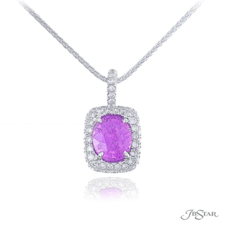 Stunning purple sapphire and diamond pendant featuring a 2.36 ct. certified