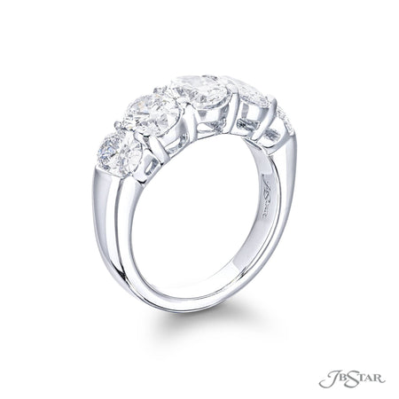 Stunning diamond wedding band featuring 5 perfectly matched oval diamonds in shared-prong setting. Handcrafted in pure platinum. [details] Stone Information SHAPE TYPE WEIGHT Oval Diamond 2.98 ct. [enddetails] | JB Star 2818-001 Anniversary & Wedding