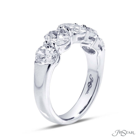 Stunning diamond wedding band featuring 5 perfectly matched oval diamonds in a shared prong setting. Handcrafted in pure platinum. [details] Stone Information SHAPE TYPE WEIGHT Oval Diamond 2.70 ctw. [enddetails] | JB Star 2834-002 Anniversary & Wedding