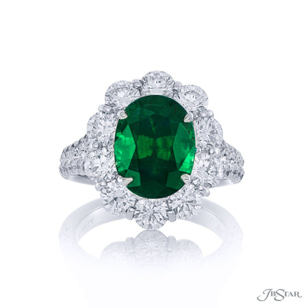 Dazzling emerald and diamond ring featuring a magnificent 3.89 ct. certified oval emerald encircled by round diamonds. Handcrafted in pure platinum. [details] Center Stone(s) SHAPE TYPE WEIGHT Oval Emerald 3.89 ct. Stone Information SHAPE TYPE WEIGHT Round Diamond 2.84 ctw. [enddetails] | JB Star 3014-106 Precious Color Rings