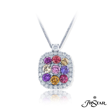 Uniquely designed pendant featuring natural no-heat mutli-colored sapphires accompanied by straight baguettes, round and cushion diamonds all handcrafted in pure platinum. | JB Star 3014-115 Pendants
