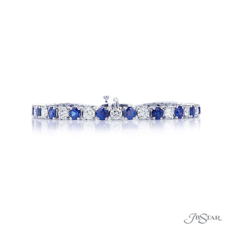 Dazzling diamond bracelet featuring 21 round diamonds and 21 round sapphires in a gorgeous alternating shared prong design. Handcrafted in pure platinum. [details] Stone Information SHAPE TYPE WEIGHT Round Diamond 4.52 ctw. Round Sapphire 6.46 ctw. [enddetails] | JB Star 3604-001 Bracelets