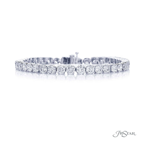 Dazzling diamond bracelet featuring 41 beautifully selected round diamonds in a shared prong setting. Handcrafted in pure platinum. [details] Stone Information SHAPE TYPE WEIGHT Round Diamond 12.25 ctw. [enddetails] | JB Star 3605-001 Bracelets