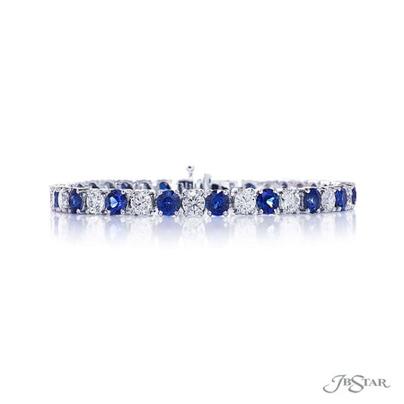 Dazzling diamond bracelet featuring 19 round diamonds and 19 round sapphires in a gorgeous alternating shared prong design. Handcrafted in pure platinum. [details] Stone Information SHAPE TYPE WEIGHT Round Diamond 5.90 ctw. Round Sapphire 7.63 ctw. [enddetails] | JB Star 3606-001 Bracelets