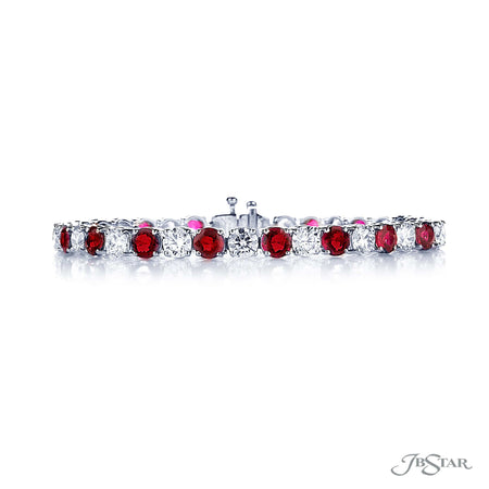 Dazzling ruby and diamond bracelet featuring 17 round rubies and 17 round diamonds in an alternating shared prong setting. Handcrafted in pure platinum. [details] Stone Information SHAPE TYPE WEIGHT Round Ruby 9.81 ctw. Round Diamond 7.73 ctw. [enddetails] | JB Star 3608-001 Bracelets
