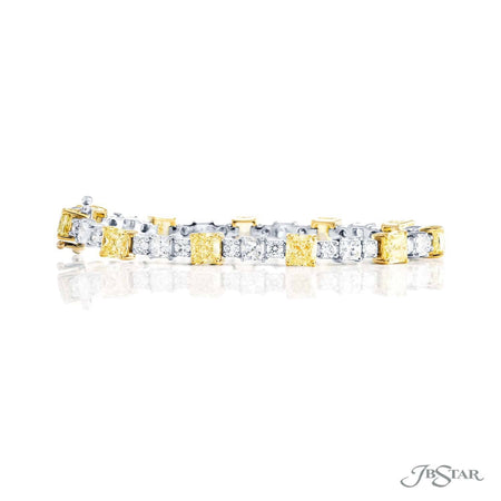 Dazzling fancy yellow diamond bracelet featuring 11 GIA certified radiant-cut fancy yellow diamonds linked together by radiant-cut and round diamonds. Handcrafted in pure platinum and 18KY gold. [details] Center Stone(s) SHAPE TYPE WEIGHT COLOR Radiant Diamond 11.54 ctw. Fancy Yellow Notes: GIA Stone Information SHAPE TYPE WEIGHT Radiant Round Diamond Diamond 3.72 ctw. 2.20 ctw. [enddetails] | JB Star 3610-003 Bracelets