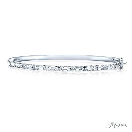 Dazzling diamond bangle featuring emerald-cut and round diamonds in an alternating design. Handcrafted in pure platinum. [details] Stone Information SHAPE TYPE WEIGHT Emerald Diamond 2.31 ctw. Round Diamond 1.00 ctw. [enddetails] | JB Star 3614-001 Bracelets