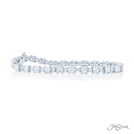 Dazzling diamond bracelet featuring radiant and round diamonds in an alternating design. Handcrafted in pure platinum. [details] Stone Information SHAPE TYPE WEIGHT Radiant Diamond 7.00 ctw. Round Diamond 1.32 ctw [enddetails] | JB Star 3621-001 Bracelets