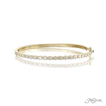 Gorgeous diamond bangle featuring 21 oval diamonds in a shared prong setting. Handcrafted in 18KY gold. [details] Stone Information SHAPE TYPE WEIGHT Oval Diamond 3.57 ctw. [enddetails] | JB Star 3634-001 Bracelets