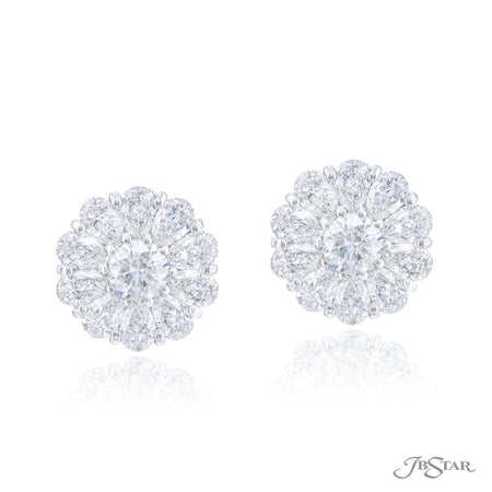 3641-001 | Floral Diamond Stud Earrings Round & Pear Shaped