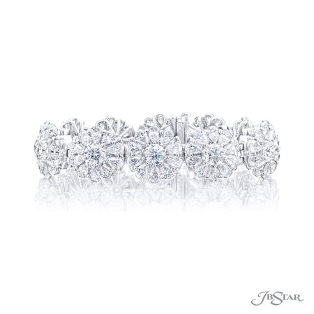 Dazzling diamond bracelet featuring pear shaped and round diamonds in a beautiful floral design. Handcrafted in pure platinum. [details] Stone Information SHAPE TYPE WEIGHT Pear Diamond 18.04 ctw. Round Diamond 8.56 ctw. [enddetails] | JB Star 3672-001 Bracelets
