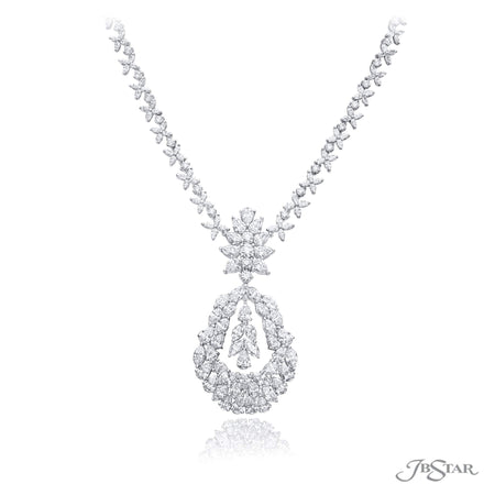 Gorgeous diamond pendant featuring marquise, round and pear shaped diamonds in a magnificent design. Handcrafted in 18 KW white gold. [details] Stone Information SHAPE TYPE WEIGHT Marquise Diamond 19.49 ctw. Pear Diamond 10.88 ctw. Round Diamond 4.30 ctw. [enddetails] | JB Star 3677-001 Necklaces