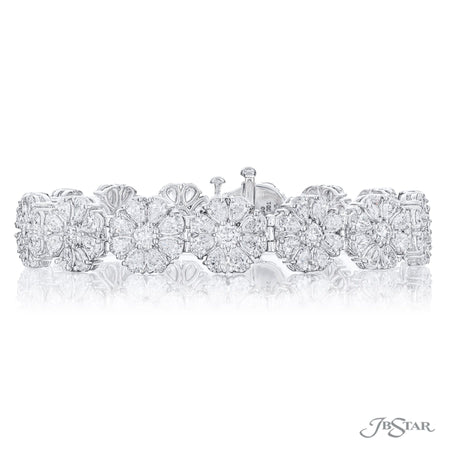 Dazzling diamond bracelet pear-shaped and round diamonds in a beautiful floral design. Handcrafted in a pure platinum and shared prong setting. [details] Stone Information SHAPE TYPE WEIGHT Round Pear Diamond Diamond 2.19 ctw. 10.31 ctw. [enddetails] | JB Star 3678-001 Bracelets