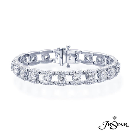 Beautiful diamond bracelet uniquely designed with 21 perfectly matched round diamonds set in a track of round diamond pave. Handcrafted in pure platinum. [details] Stone Information SHAPE TYPE WEIGHT Round Diamond 10.81 ctw. [enddetails] | JB Star 3935-001 Bracelets