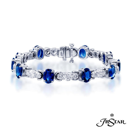 Gorgeous sapphire and diamond bracelet featuring 10 oval sapphires and round diamonds. Handcrafted in pure platinum. [details] Stone Information SHAPE TYPE WEIGHT Oval Sapphire 7.80 ctw. Round Diamond 4.56 ctw. [enddetails] | JB Star 3991-003 Bracelets
