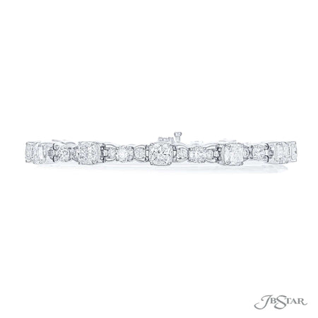 Dazzling diamond bracelet featuring cushion-cut and round diamonds in an alternating design. Handcrafted in pure platinum. [details] Stone Information SHAPE TYPE WEIGHT Cushion Diamond 7.85 ctw. Round Diamond 3.85 ctw. [enddetails] | JB Star 3999-002 Bracelets