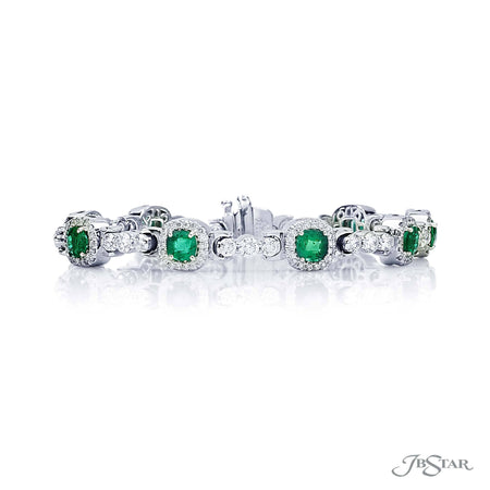Beautiful emerald and diamond bracelet featuring 9 cushion cut emeralds linked surrounded by micro pave and linked together by brilliant round diamonds. Handcrafted in pure platinum. [details] Stone Information SHAPE TYPE WEIGHT Cushion Emerald 4.46 ctw. Round Diamond 4.05 ctw. [enddetails] | JB Star 4106-001 Bracelets