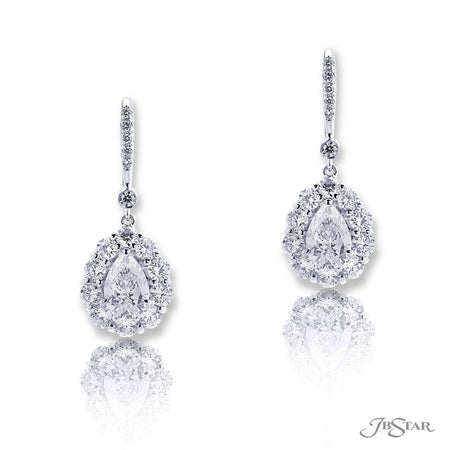 Dazzling diamond drop earrings featuring 2 pear shape diamond centers GIA certified and encircled by round diamonds. Handcrafted in pure platinum. [details] Center Stone(s) SHAPE TYPE WEIGHT COLOR CLARITY Pear Pear Diamond Diamond 1.00 ct. 1.01 ct. G G SI2 SI1 Notes: GIA Stone Information SHAPE TYPE WEIGHT Round Diamond 2.13 ctw. [enddetails] | JB Star 4174-017 Earrings