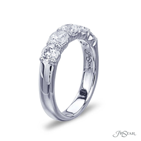 Gorgeous diamond wedding band featuring 5 round diamonds in a shared prong setting. Handcrafted in pure platinum. [details] Stone Information SHAPE TYPE WEIGHT Round Diamond 1.50 ctw. [enddetails] | JB Star 4265-125 Anniversary & Wedding