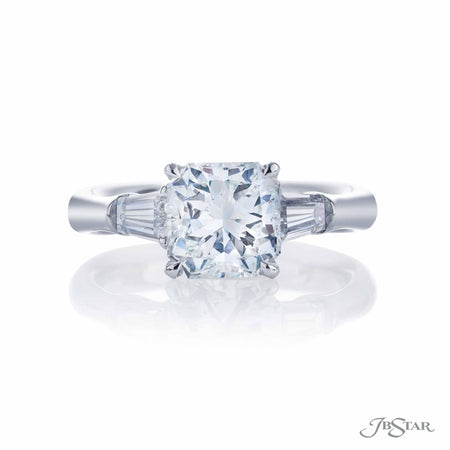 2.04 ct Platinum Radiant Cut Diamond Engagement Ring with side tapered baguette diamonds  | 4398-064