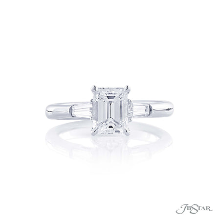 1.30 ct Platinum Emerald Cut Diamond Engagement Ring