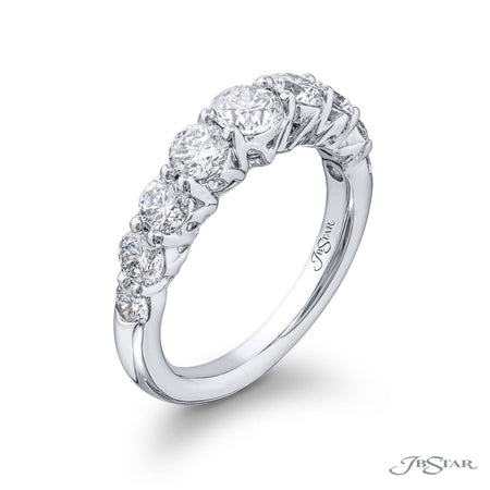 Gorgeous diamond wedding set featuring graduating round diamonds in a beautiful shared prong design. Handcrafted in pure platinum. [details] Stone Information SHAPE TYPE WEIGHT Round Diamond Varies [enddetails] | JB Star 4399 Semi Mount Settings